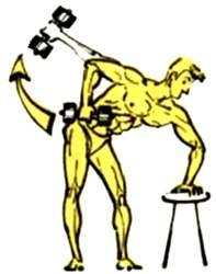 Трицепсовые отведения руки с гантелью назад стоя в наклоне