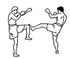 Тренировочный бой в тайском боксе