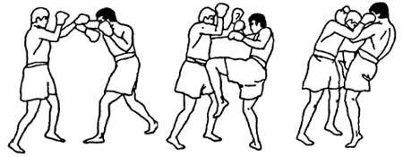 Связка ударов: колено – локоть