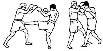 Связка ударов: стопа – локоть