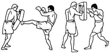 Отработка связок ударов в тайском боксе
