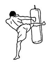 Углы атаки при нанесении круговых ударов ногами