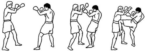Круговой удар коленом по корпусу в тайском боксе