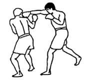 Прямой удар в голову противника правым кулаком