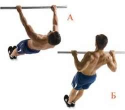 Упражнение для мышц груди (подтягивания)
