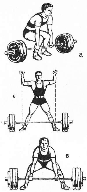 Разновидности стартового положения в тяге: а) тяжелоатлетический старт; б) и в) лифтерская тяга